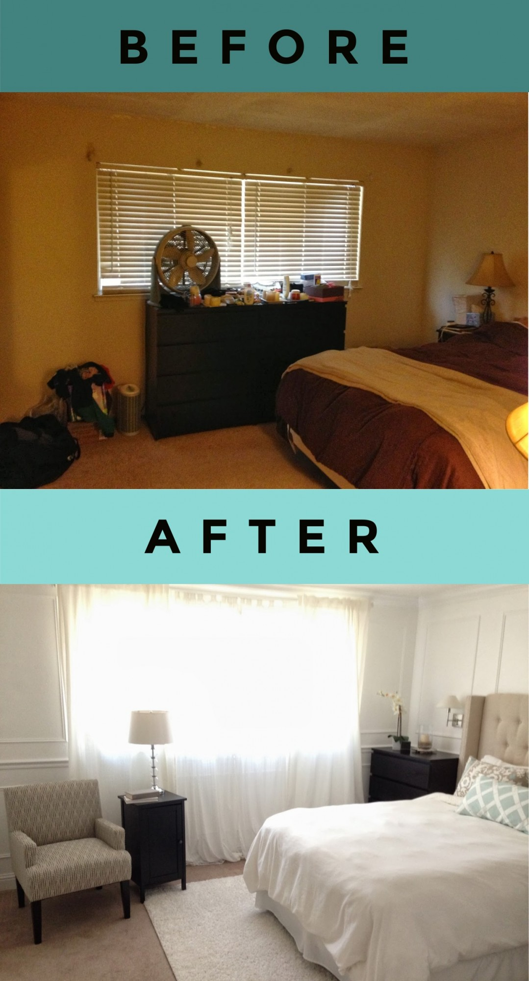 How to make a small bedroom look bigger and brighter with curtains and paint