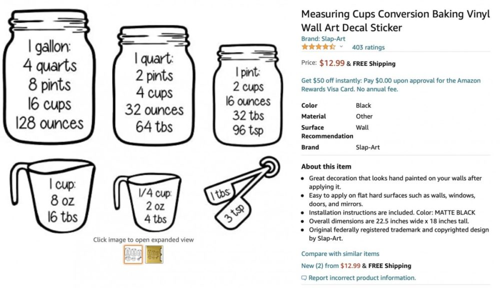 Measuring Cups Conversion Baking Vinyl Wall Art Decal Sticker - Free Cooking Printable + The Top 3 BEST helpful Kitchen Conversion Charts